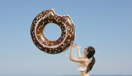Swim About Large Donut Swim Ring Tube Pool Inflatable Floats for Adults (Brown) image 2