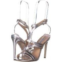 Steve Madden Sidney Ankle Strap Heeled Sandals 843, Silver, 6.5 US - $36.47