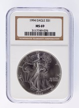 1994 Silver 1oz American Eagle $1 NGC Graded MS 69 - $136.12