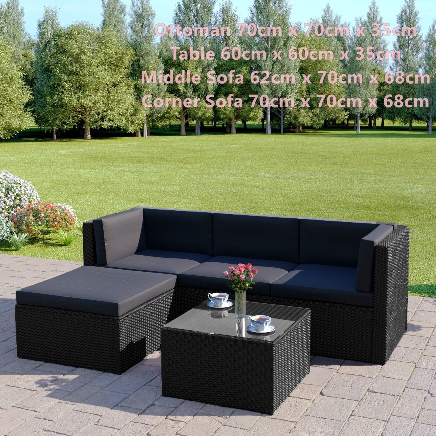 Black Rattan Sofa & Stool Set Modular Outdoor Garden Furniture Dark Cushions New