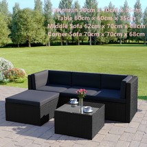 Black Rattan Sofa & Stool Set Modular Outdoor Garden Furniture Dark Cush... - $527.99