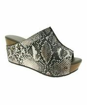 Pierre Dumas, Taupe Snake Embossed Studded Natural Sandal, Sz 6 - $40.59