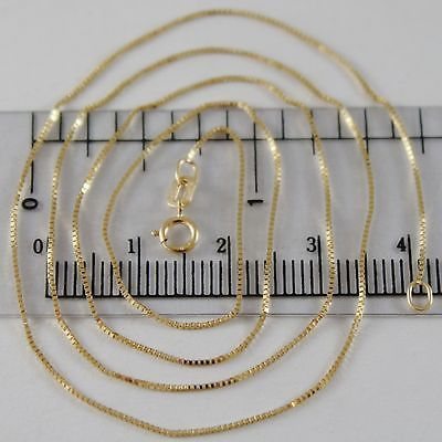 18K YELLOW GOLD CHAIN MINI 0.7 MM VENETIAN SQUARE MESH 15.75 INCH. MADE IN ITALY