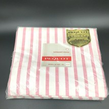 Vintage Pequot Flat Sheet 81x108 Pink and White Peppermint Striped Musli... - $32.95