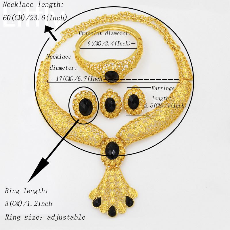 2019 Luxury 24 Gold Jewelry Sets Black Crystal Big Necklace Ring Earrings Charm
