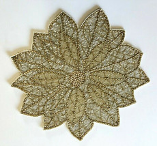 """Cynthia Rowley 15"""" Beaded Placemats Set Of 2 Poinsettia Clear Gold Chris... - $84.14"""