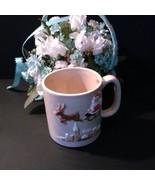 Vintage tan Christmas mug, Santa and sleigh, city scene, Otagiri 1981 - $9.95