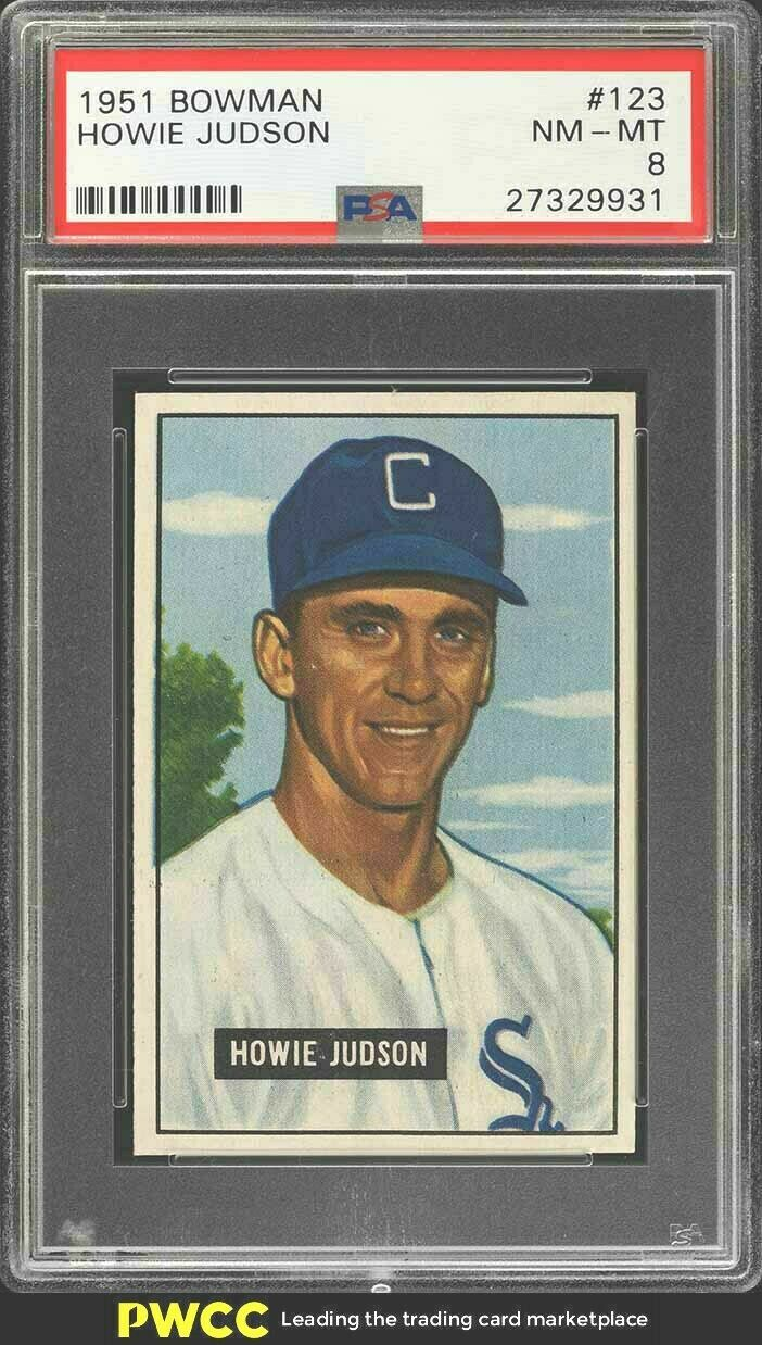 Primary image for 1951 Bowman Baseball Card #123 Howie Judson  PSA 8 NM-MT