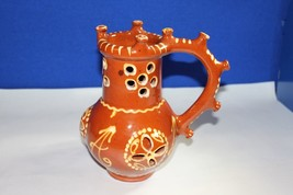 Ceramic Decorative Pitcher Vase Hand Painted in Brown and Orange Monogramed 'A' - $74.24