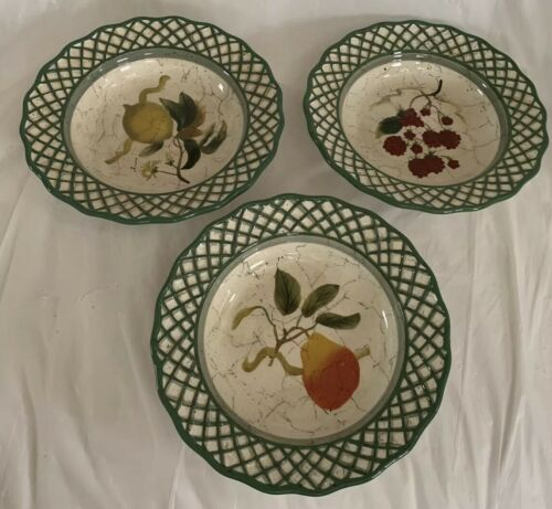 Raymond Waites Cornucopia Fruit Lattice ~ Fruits ~ Soup Bowls Set of 3