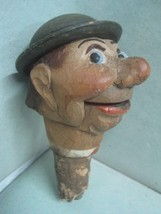 ANTIQUE  BOTTLE STOPPER MADE IN WOOD  A FACE OF A MEN - $32.48