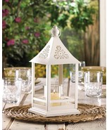 Belfort Candle Lantern White Metal with Glass Candle Cup - $22.42