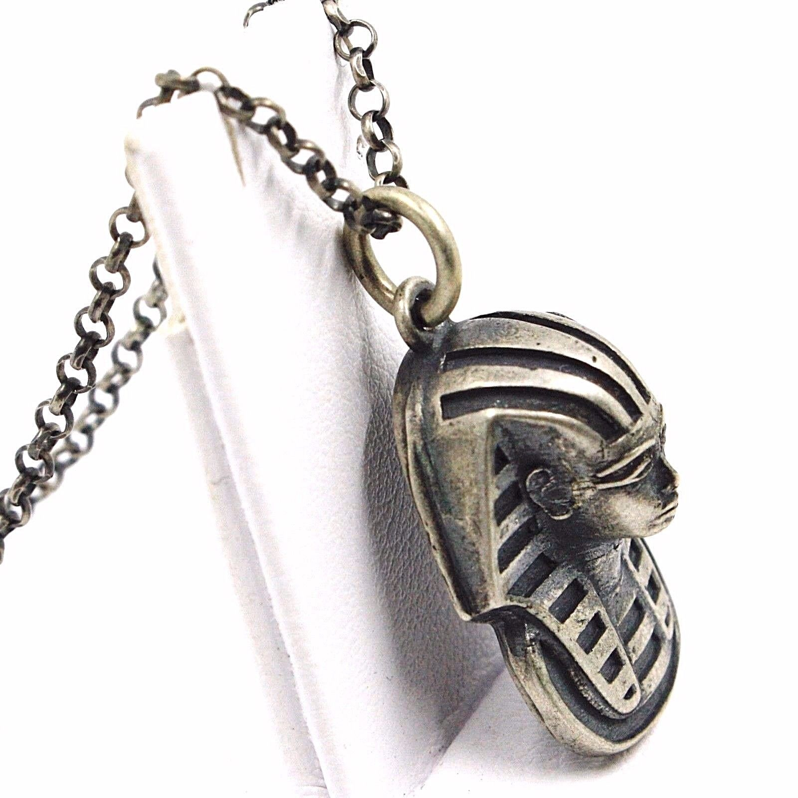 PENDANT NECKLACE, 925 SILVER, BURNISHED SATIN, HEAD PHARAOH, CHAIN ROLO'