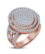Rose Gold Plated 925 Silver Round Cut White Diamond Engagement Unisex Ba... - $136.85