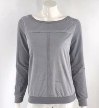 Juicy Couture Top Size Medium Gray Faux Suede Front Long Sleeve Shirt Wo... - $19.01