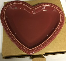 Vintage Longaberger Pottery - 2001 Heart Plate, Deep Red/Paprika Made in USA - $17.63