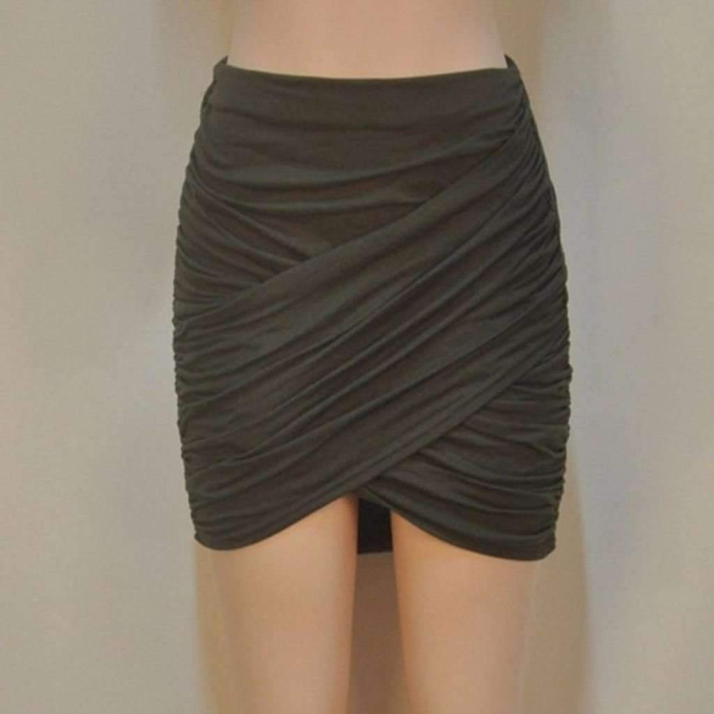 Elastic Pleated Cross Fold Women Skirts