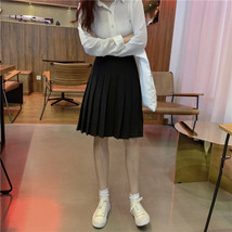 Women Black Pleated Skirt Outfit Plus Size Black Tennis Skirt image 3
