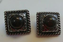 Vintage Signed FLP Large Square Silver-tone & Amber Color CAB Clip-on Ea... - $22.76