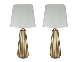 Urbanest Set of 2 Emile Table Lamps, Antique Gold with Cream Shades, 22 ... - $98.99