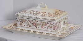 ANTIQUE VICTORIAN MERCER CHINA PORCELAIN TRANSFERWARE FLORAL TUREEN AND ... - $144.94