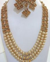 Beige Gold Pearls Indian Ethnic Jewelry Necklace Earrings Kundan New Bridal Set image 7