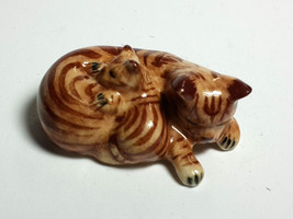 Hand Painted Miniature Collectible Ceramic Porcelain Brown Siamese Cat F... - $3.47