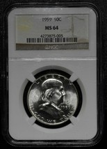 1959 Franklin Silver Half Dollar 50¢ Coin MS64 NGC Lot A 492