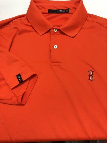 RLX Ralph Lauren Men Golf Polo Shirt Polyester Elastane Blend Orange Large L