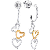 10kt Two-tone White Gold Womens Round Diamond Dangling Triple Heart Earr... - $269.03