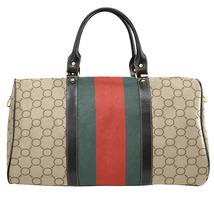 Gucci Style Green Red Stripes Travel Bag Gym Bag Luxury Style Large Straps - $129.97