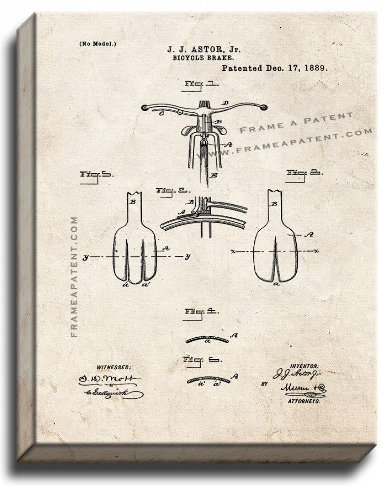 Primary image for Bicycle Brake Patent Print Old Look on Canvas