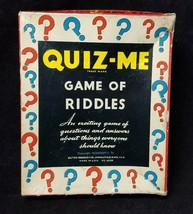 Quiz Me Game 1938 Milton Bradley Game of Riddles, Original Box Instructions - $19.34