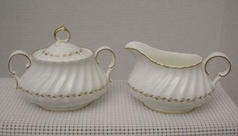 ADRIAN by Royal Doulton China CREAMER & SUGAR BOWL 4816 Gold Laurel England - $48.49