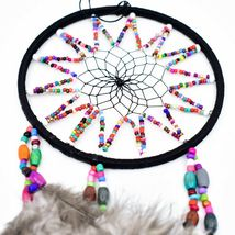 """Handcrafted 11"""" Dreamcatcher Colorful Plastic & Wood Beads w Gray Feathers  image 3"""