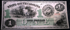 1866 $1 State Of South Carlolina Great Looking Banknote  with Cherubs - $593.01