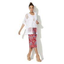 CURATIONS CARAVAN Size L Crochet and Lace Open Front Kimono and Tank Pie... - $19.75