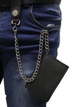 Men Silver Metal Wallet Chains KeyChain Jeans Fashion Black Trifold Faux Leather - $21.55