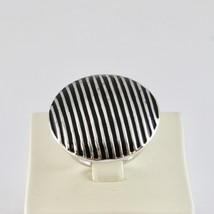 Ring Bandring aus 925 Silber Rhodium mit Politur Schwarz Gestreift image 2