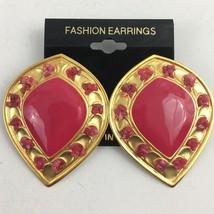 Vintage Big Pink Enamel Pierced Earrings Satin Brushed Gold Tone Stateme... - $10.25
