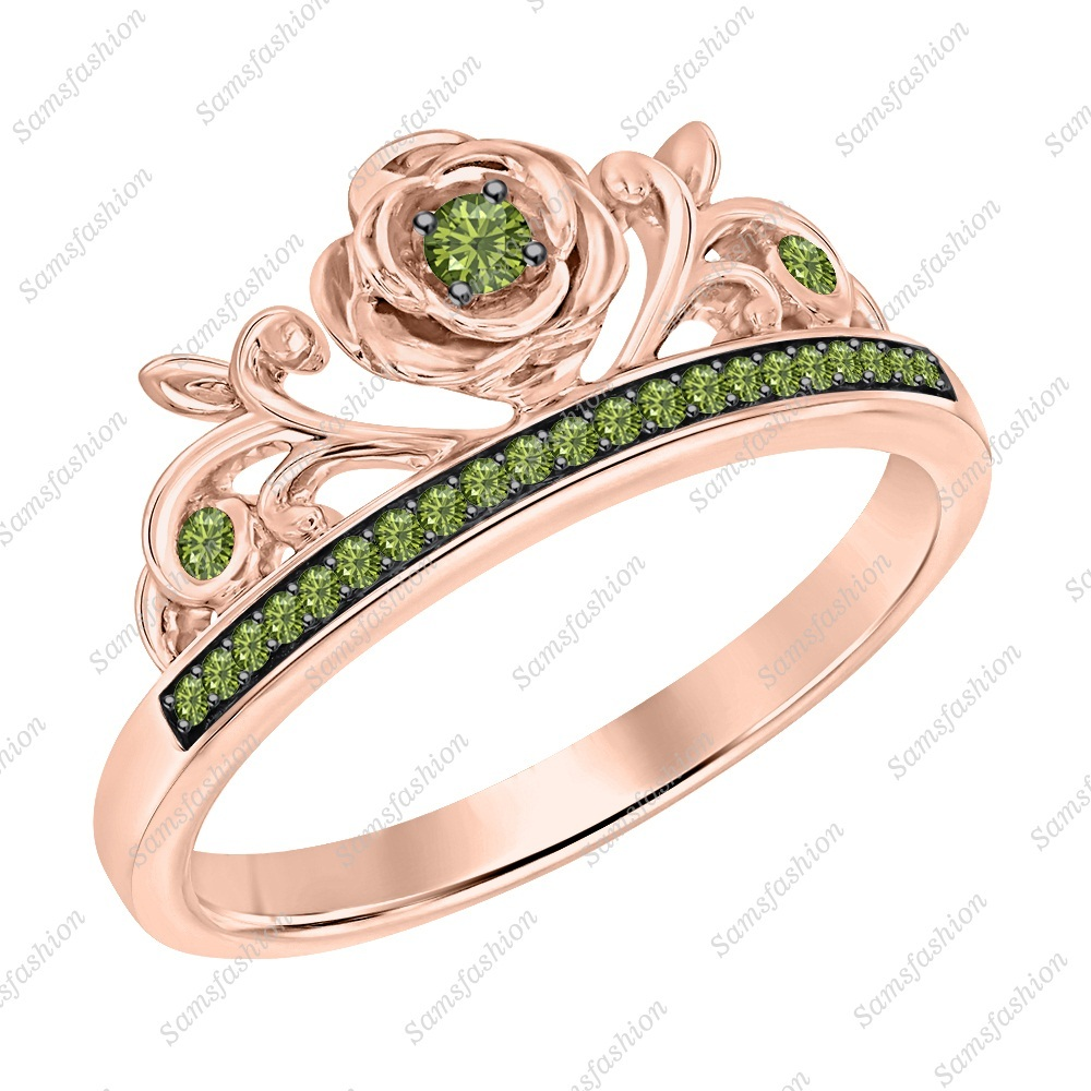 Primary image for Round Green Tourmaline 14k Rose Gold Over 925 Silver Rose Flower Promise Ring