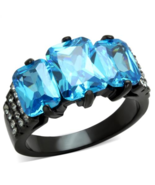 Emerald Cut Aqua Cocktail Ring Black Plated Stainless Steel TK316 - $25.00