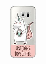 Love coffee Unicorn Cartoon Quote Soft Clear Phone Case Cover Samsung Ga... - $6.76