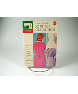 Vintage 1960 SINGER Sewing Library #111 How to Make Zipper Closures Booklet - $1.75