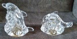Lenox Fine Crystal Glass Dolphin Salt & Pepper Shaker Set - $9.74