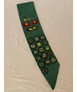 Girl Scout Sash with 16 Badges 3 Stars Wings and 2 Patches Vintage 1970s - $37.99