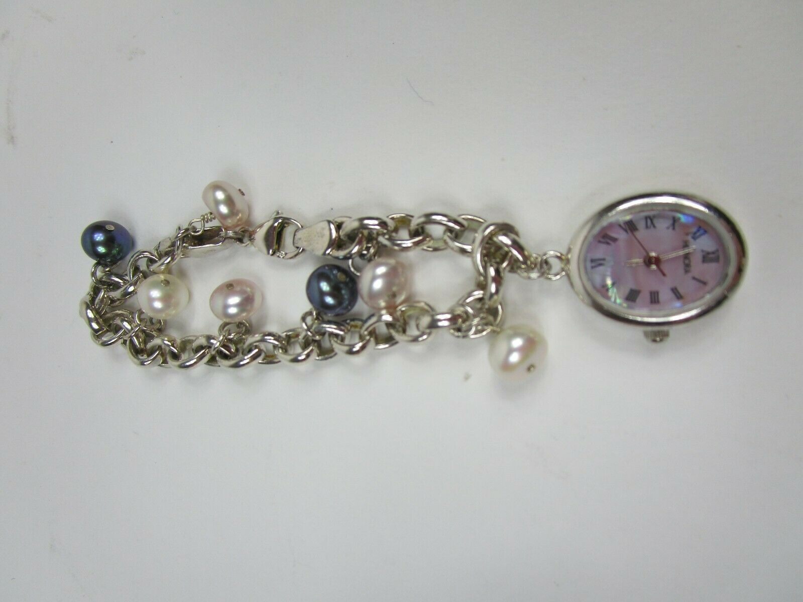 "HONORA STERLING SILVER Cable Chain Pearl Charm Mop Watch Women's BRACELET 7"" image 3"