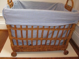 Pottery Barn Kids Rolling Wicker Toy Storage Cart Gingham Liner 3avail EUC