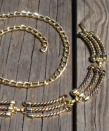 Vintage 1980s Fashion Adjustable Gold Tone Chain Belt w Black Enamel and... - $22.00
