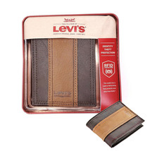 Levi's Men's RFID Blocking Two Tone Bifold ID Logo Brown Wallet 31LV240017 image 1